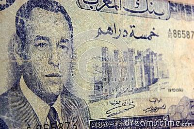 Het antieke bankbiljet van Farouk van de koning, Marokko