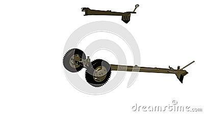 Het assembleren van het 105 mm-kanon, houwitser lengte animatie vector illustratie