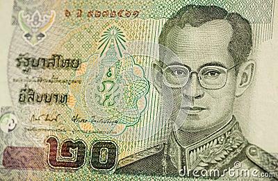 Het bankbiljet van de Koning van Thailand