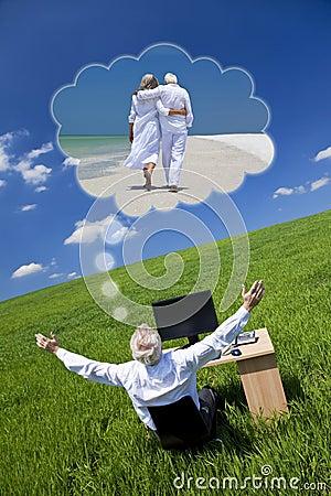 Het Dromen van de zakenman het Bureau Gree van de Pensionering van de Vakantie