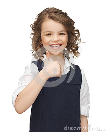 Het meisje van de pre-tiener het tonen beduimelt omhoog