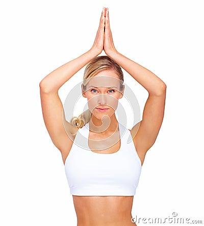 Het beeld van het portret van een gezond meisje dat yoga doet