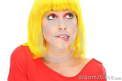 Het bijten van de vrouw lip