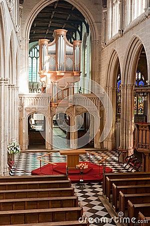 Het binnenland van de kerk. Oxford, Engeland