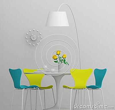 Het binnenlandse ontwerp van het huis retro meubilair de klei geeft met kleur terug royalty - Kleur gevel eigentijds huis ...