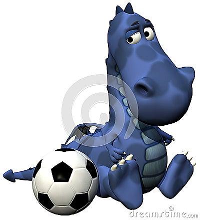 Het blauw van de de babydraak van Dino van de voetballer - bal op staart