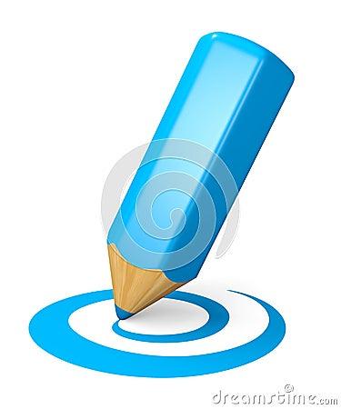 Het blauwe concept van het tekeningspotlood