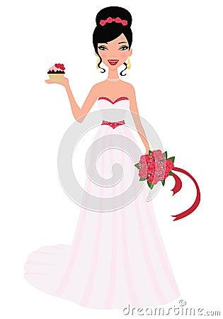 Het boeket van het de holdingshuwelijk van de bruid en cupcak