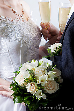 Het boeket van het huwelijk van witte bloemen
