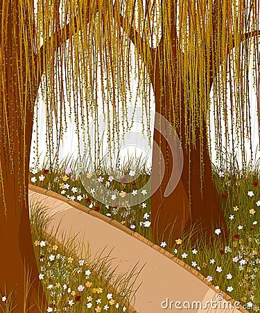 De bosachtergrond van de wilg