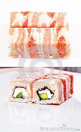Het broodje van sushi in bacon