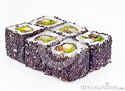 Het broodje van sushi met paddestoelen