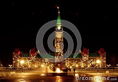 Het Canadese Parlement bij Kerstmis
