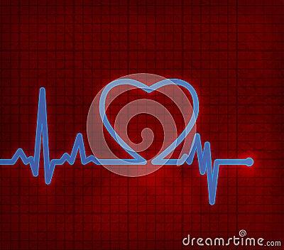 Het cardiogram van het hart met hart op het
