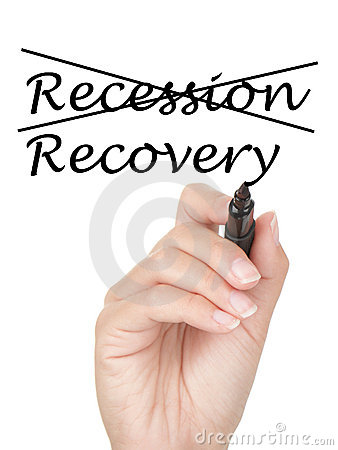Het concept van de recessie en van de terugwinning