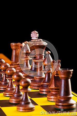 Het concept van het schaak met stukken