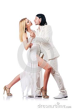 Het dansen van het paar geïsoleerdel dansen