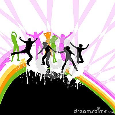 Het dansen van silhouetten