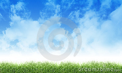 Het de groene Wolken en Gras van de Hemel van de Aard Eco