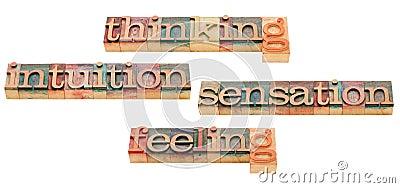 Het denken, het voelen, intuïtie en sensatie