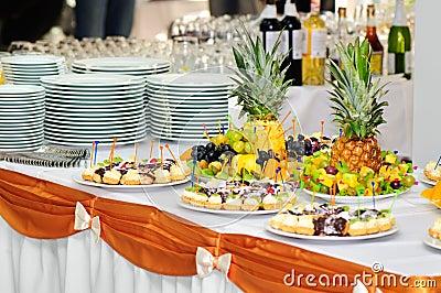 Het dessertlijst van het banket