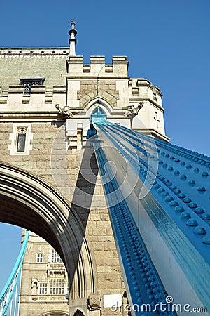 Het detail van de Brug van de toren: ijzer lager en bas-hulp