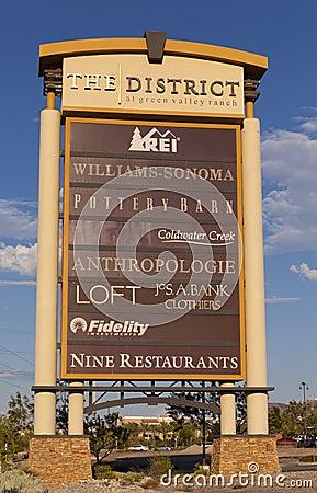 Het Districtsteken bij Groene Valleiboerderij in Las Vegas, NV op Augu Redactionele Fotografie
