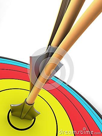 Het doel van het boogschieten met twee pijlen