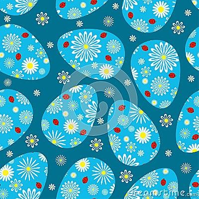 Het donkerblauwe naadloze patroon van Pasen.