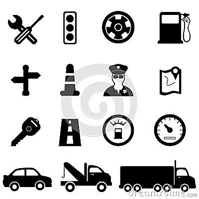 Het drijven en verkeerspictogrammen
