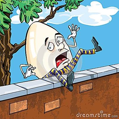 Het dumpty vallen van Humpty van de muur
