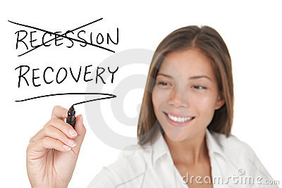 Het economische concept van de recessie en van de terugwinning