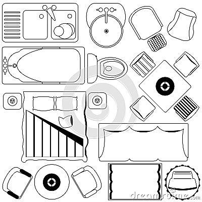Het eenvoudige plan van het meubilair van de vloer overzicht stock fotografie afbeelding - Meubilair van de ingang spiegel ...