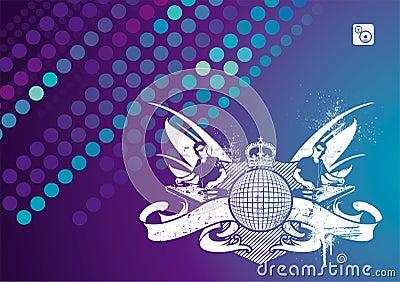 Het embleem van de muziek met DJ