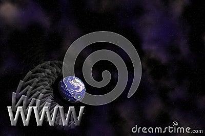 Het embleemachtergrond van WWW en van de Aarde