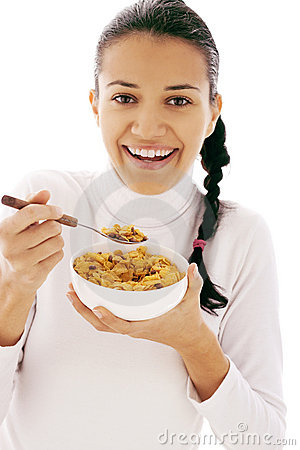 Het eten van cornflakes