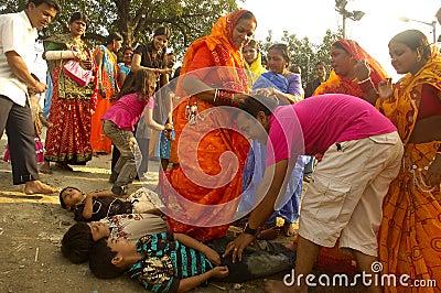 Het Festival van Chatt in India. Redactionele Afbeelding