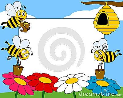Het Frame van de Foto van de Bijen van het beeldverhaal [1]