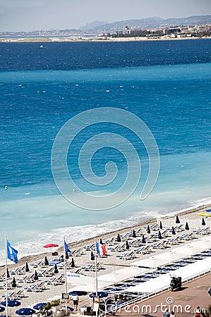 Het Franse beroemde strand van Riviera Nice Frankrijk