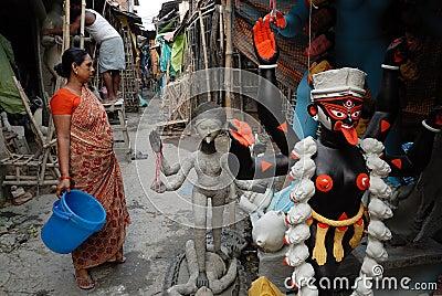 Het Gebied van de Krottenwijk van Kolkata Redactionele Foto