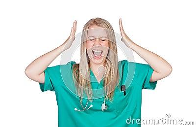 Het gekke arts schreeuwen