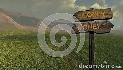 Het geld-geld van de tekenrichting