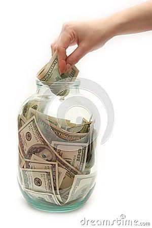 Het geld van de opslag in bank