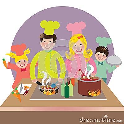 Het gelukkige familie koken