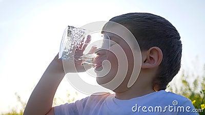Het gelukkige kleine schone water van de kereldrank op aard op achtergrondgebied bloeit, weinig jongen die van glas in openlucht  stock videobeelden