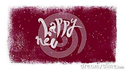 Het gelukkige Nieuwjaar Kalligrafische Van letters voorzien met Sneeuw binnen een Bevroren Kader stock footage