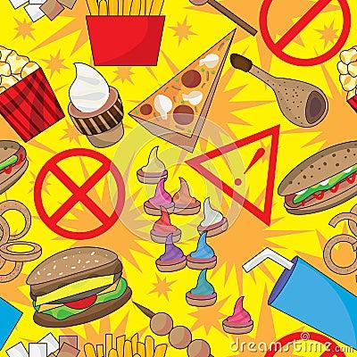 Het gevaarlijke Naadloze Patroon van het Snelle Voedsel
