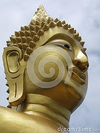 Het gezicht van gouden Boedha