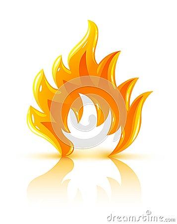 Het glanzende brandende pictogram van de brandvlam