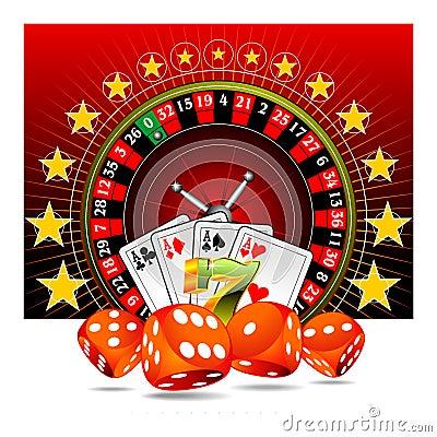 Het gokken illustratie met casinoelementen